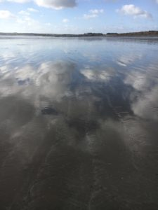 Garryvoe Beach, clouds mirrored in low tides