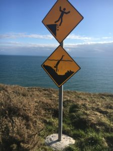 Ballycotton Cliffwalk, warning signs for the more difficult paths